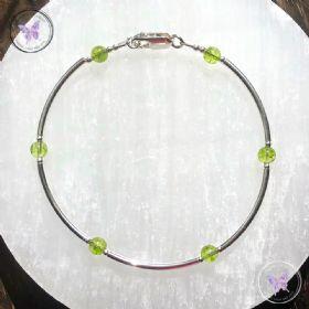 Peridot & Silver Bangle Bracelet